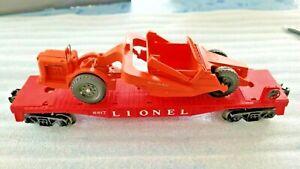 Lionel 6817 Flatcar w/ Scraper & Wire Windshield  and Raised Black Letter Hood