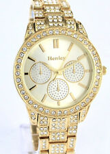 Henley Ladies Sparkly Crystals Watch Gold Tone Bling Gift Presentation Box