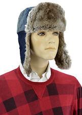 $560 DOLCE & GABBANA Blue Jeans Rabbit Fur D&G Ushanka Cossack Trapper Hat 58 M