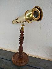 Télescope  longue vue en laiton sur pied bois Darwin  longueur 32cm neuf