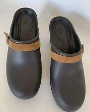 CROC Clogs Dark Brown With Light Brown Suede Strap Women's Size 10 Slip On EUC