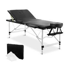 Portable Massage Table Chair Bed Aluminium 3 Fold Black 185x75x80cm