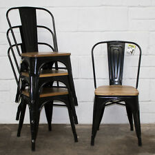 4x Black Metal Industrial Dining Bistro Chair Kitchen Bistro Cafe Vintage Seat
