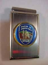 POLICE of PUERTO RICO POLISHED SATIN CHROME MONEY CLIP NEW