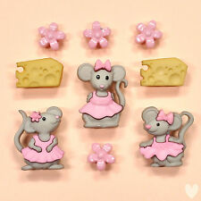 DRESS IT UP Buttons The Mice Girls 7676 - Embellishments Mouse Cheese Flowers