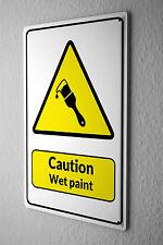 Cartel de chapa Warning Sign Precaución Wet Paint cepillo símbolo en negro y