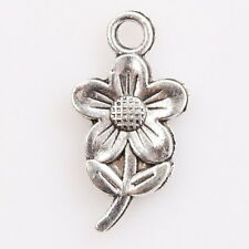 50x 145775 Wholesale New Antique Silver Flower Alloy Pendant Fit Jewellery DIY