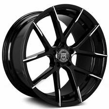 "(4) 22"" Staggered Lexani Wheels Stuttgart Gloss Black with Machined Tips (B45)"