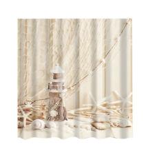 Shower Curtain Lighthouse Bathroom Polyester Panel Drapes + 12 Hooks BATH