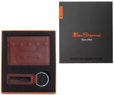 BEN SHERMAN Mens Leather Credit Card ID Wallet Holder & Keyring > Brown > BOXED