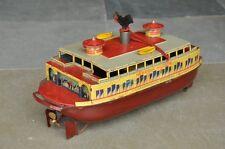 Rare Vintage Windup C.K T Prewar Hendrik Hudson Litho Ferry Boat Tin Toy Japan