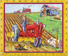 Tractor Mac Farm Farmer Farming Stony Meadow Farm Scene Cotton Fabric PANEL