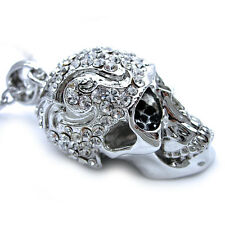 Twinkling Big Skull Austrian Crystal Necklace