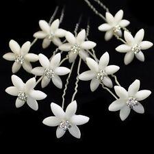 10 PASADORES Edelweiss Flores Boda STRASS copos de nieve Tiara