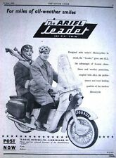 1960 ARIEL 250cc Twin & 'Leader' Motor Cycle ADVERT - Vintage Original Print AD