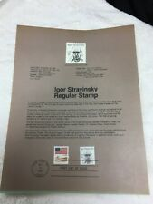 US FDC FIRST DAY COVER IGOR STRAVINSKY 1982 Full Page