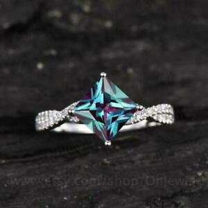 2.00Ct Princess Cut Alexandrite Solitaire Engagement Ring 14k White Gold Finish