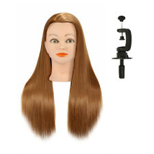 24'' Hairdressing Training Head 50% Real Long Hair Mannequin Salon Manikin Brown