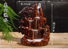 Fambe Ceramic Mountain Water Old man Smoke Backflow Cone Incense Burner &7 CONES