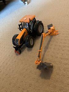 BRITAINS Farm Toys Metallic Orange Valtra & Hedge Trimming Accessory.