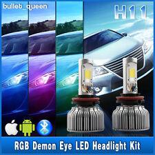 H11 H8 2in1 60W LED Headlight Bulb Kit + RGB Demon Eye Bluetooth App-enabled New