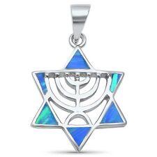 David .925 Sterling Silver Pendant Blue Opal Minorah Jewish Star of