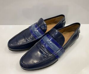 Men's Gucci Loafers Shoes Striped Blue Sz US 8