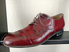 Salvatore Ferragamo Mens Oxford Lace Up Wingtip Reddish Brown Dress Shoes Sz10D