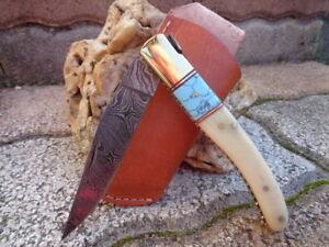 Couteau Damas Lame 128 Couches Façon Laguiole Manche Os/Turquoise Etui DM1156BO