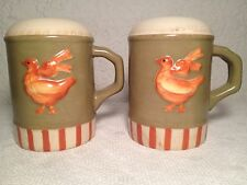 Nikko Set Salt And Pepper Shakers Country Goose Geese Ribbon Green Red