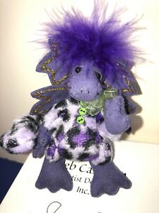 "4"" Deb Canham Artist Limited Dragon Plush ""Blueberry"" Purple W/ COA & Box 60/100"