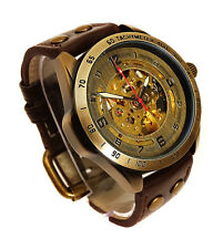 45mm BRONZE AUTOMATIC Skeleton TACHYMETER SCALE Vintage Look Wrist Watch Brass