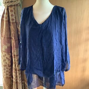 Made in Italy lagenlook plus size Blue Layered Adjustable Sleeve Silk Top XXL
