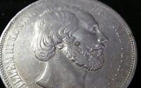 RARE 1872 NETHERLANDS KING WILLEM 2 1/2 GULDEN SILVER CROWN