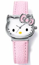 Brand New Hello Kitty Cat Face White With Pink Bow Watch Leather-Like Strap VHTF