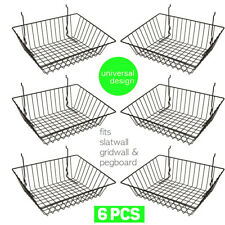 Set of (6) Baskets Designed for Gridwall, Slatwall and Pegboard - Black