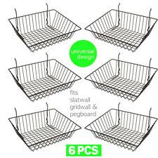 Set Of 6 Baskets Designed For Gridwall Slatwall And Pegboard Black