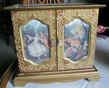 VINTAGE  ROYAL SEALY WOOD JEWELRY ARMOIRE Working TOYO MUSIC BOX LARA'S THEME