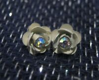 Great white coated earrings in flower rose form small stone centre 7 mm wide