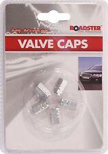 5 xSilver Valve Dust Caps /  Car Bike Van Bmx Dustcaps Metal
