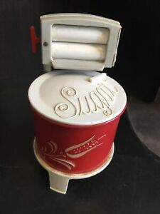 vintage 1950 washing machine salt and pepper shaker and sugar bowl
