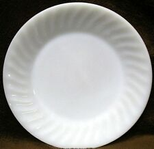"""FIRE KING OVEN WARE White MILK GLASS 9"""" round coupe DINNER Luncheon PLATE Swirl"""
