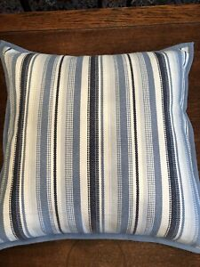 """Ralph Lauren 22"""" Blue White Striped Throw Pillow With Feather Insert"""