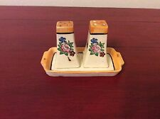 Vintage Salt And Pepper Shaker With Tray Flowers Made In Occupied Japan P3