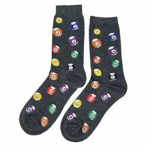 NWT Pool Ball Dress Socks Novelty Men 8-12 Gray Fun Sockfly