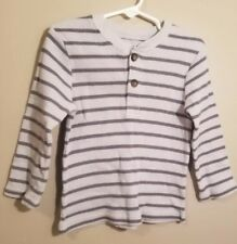 Garanimals Toddler Boys Long Sleeve Gray Striped Thermal T-Shirt Size 3T