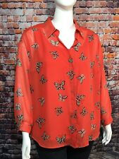 NWT CHIFFON BLOUSE W/ CAMISOLE 2X AGB Long Sleeve Butterfly Pattern on Orange