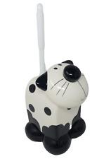 Cat Toilet Brush Holder Loo Brush Novelty Bathroom WC Ceramic Black & Cream