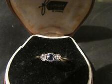 Beautiful Art Deco Quality 18ct Gold, Plat, Sapphire & Diamond Trilogy Ring