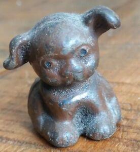 "Vintage Metal PAPERWEIGHT BUCKI Puppy Dog Carbon Ribbons Figurine 1.75"""